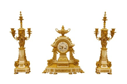 Henri Picard/Raingo Frères, Gilt bronze clock garniture, Napoleon III period