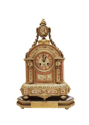 Jean-Baptiste Delettrez, Sevres style Porcelain Mantel Clock, Paris, circa 1865