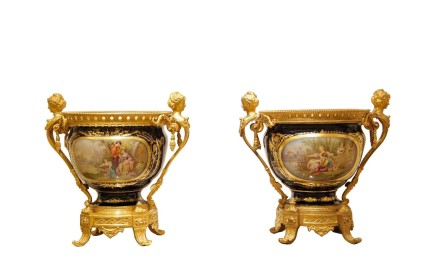 Pair of porcelain vases Sèvres style with gilt metal frame