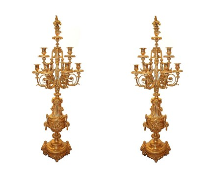Pair of ten light candelabra, mid-19th century.