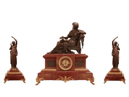Mathurin Moreau, Bronze and marble clock garniture, Late 19th century