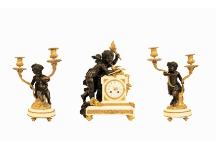 H. Luppens & Cie / A.D. Mougin, A gilt-bronze and marble three-piece clock garniture, Late 19th century