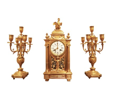 Ferdinand Barbedienne, Gilt-bronze clock garniture, Late 19th century