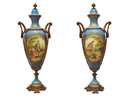 Pair of Sèvres porcelain vases, Late 19th century