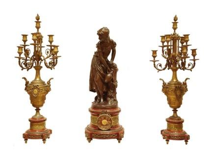 Mathurin Moreau / Japy Frères / Emile Colin & Cie, La Source, Gilt bronze clock garniture, late 19th century