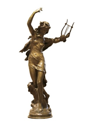 Mathurin Moreau, Bronze sculpture of a lady holding a musical instrument