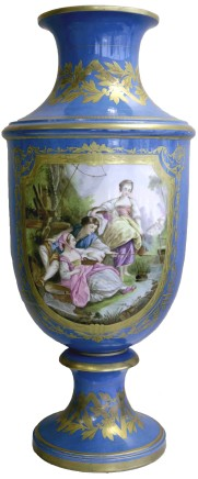 Large Sèvres style porcelain blue ground vase, late 19th century