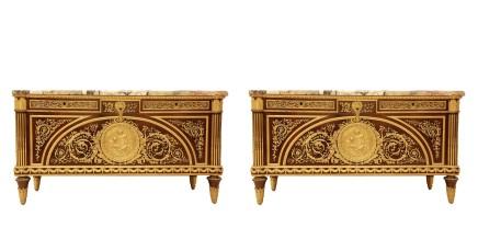 Pair of Louis XVI style Gilt-Bronze Mounted Commode À Vantaux