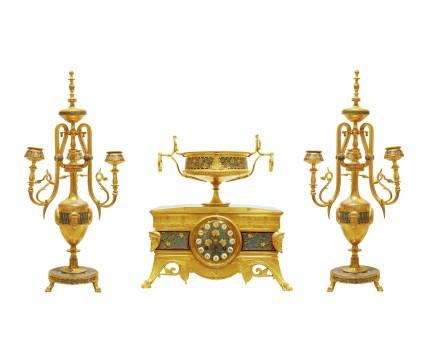 Ferdinand Barbedienne, A gilt-bronze three-piece clock garniture, late 19th century