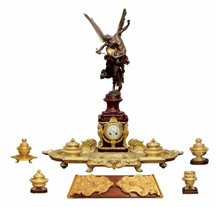 Antonin Mercié, Ferdinand Barbedienne and A. Arnault, Clock with bronze figure and decorative pieces, middle of 19th century