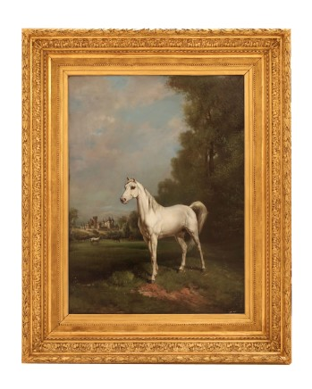 Theodore Levigne, Portrait of a Horse outside the Castle