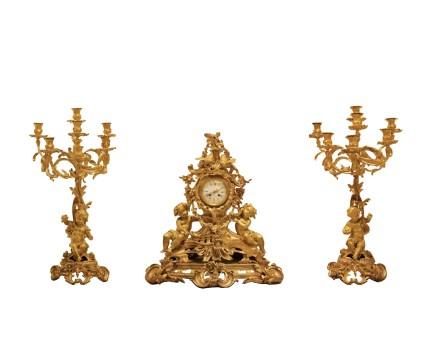 Samuel Marti, Raulin, Three-piece gilt-bronze clock garniture, Late 19th century