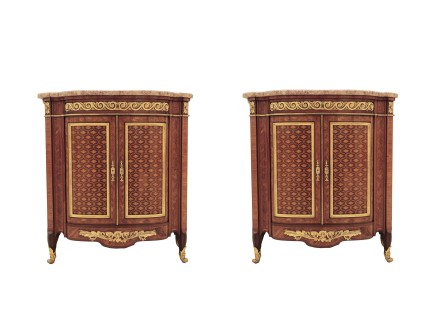 A pair of two-door cabinets with floral-head trellis marquetry, end of 19th century