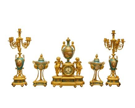 Raingo Frères / Henri Picard, Sevres style porcelain 'jeweled' turquoise-ground clock garniture, Late 19th century