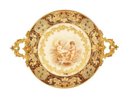 French enamel and porcelain Taza