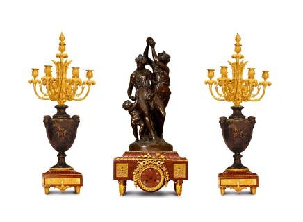 S. LEVEQUE, A bronze and marble three-piece clock garniture, End of the 19th century.