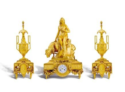 Ferdinand Barbedienne, An exceptional gilt-bronze three-piece clock garniture, middle of 19th century
