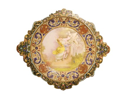 Champleve Enamelled Porcelain Plate, late 19th century