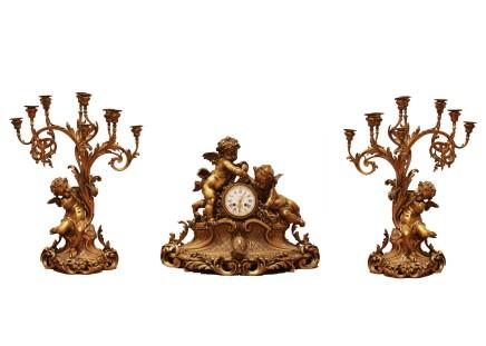 Gilt-bronze clock garniture, End of 19th century