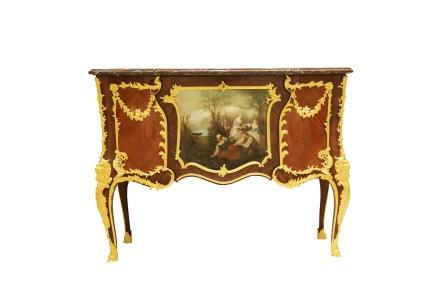 A. Chevrié, A French ormolu-mounted kingwood, bois satine and Vernis-Martin Commode, last quarter 19th century
