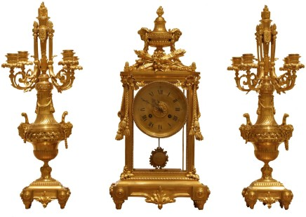 George Emile Henri Servent, A gilt-bronze three-piece clock garniture, Middle of the 19th century