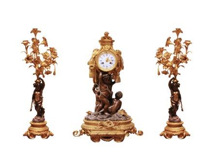 Lerolle Frères, Gilt-bronze clock garniture, Napoleon III period
