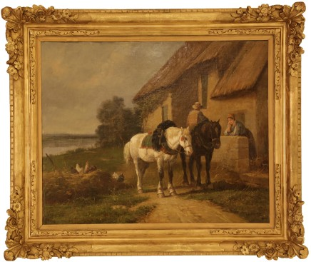 Laurent, Two horses with peasant couple and farmyard, late 19th century