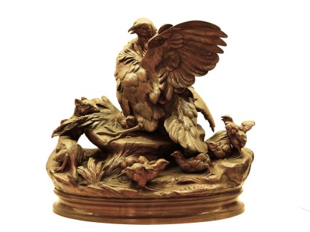 Alphonse Alexandre Arson, Bronze figural group of a female bird and her chicks attacked by a weasel, Late 19th century