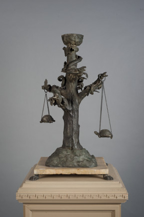 Chiurazzi Foundry, A Large Bronze Lantern, modelled as an oak tree on a stone and animal figures, Naples 19th Century