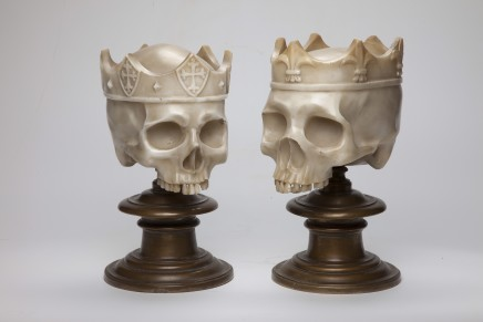 A pair of marble Skulls with crowns on bronze bases, Probably Italy, 19th Century