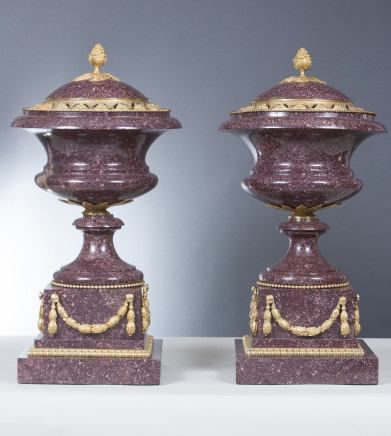 A FINE PAIR OF PORPHYRY AND GILT BRONZE MOUNTED VASES WITH LIDS, France 19th Century