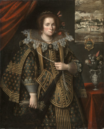 Flemish Painter, Portrait of a Lady from the Lomellino Family with the city of Tabarka on the background