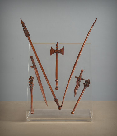 Models of arms: ax, lance, dagger and mallet, Early 19th Century