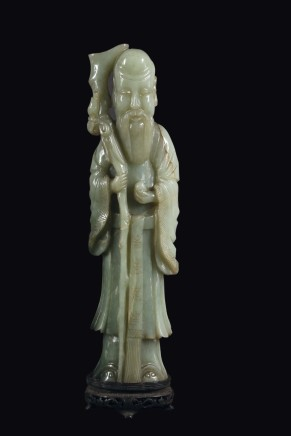 China, Figure of Shoulao in Celadon Jade, Qing Dynasty