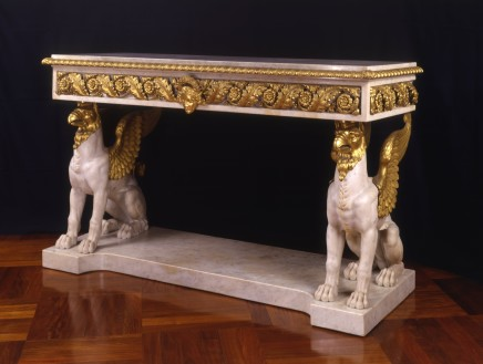 MARBLE AND GILT BRONZE CONSOLE TABLE, First quarter of the 19th Century