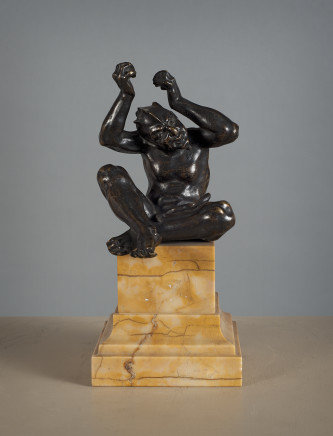 Bronze Sculpture of a Fantastic Figure mounted on a giallo antico plinth, North of Italy, Early 18th