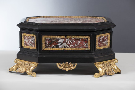 An Italian ormolu-mounted, jasper and ebony casket, late 17th Century