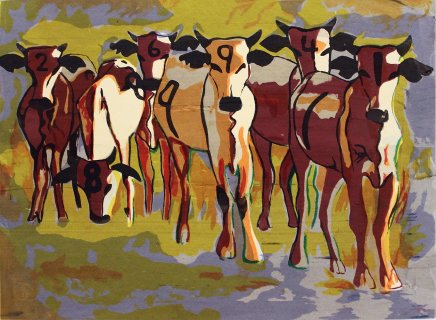 Bruce Onobrakpeya, Cows in Sunshine: A Revisit of the Sunshine Period (1960 - 70)