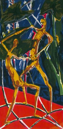 Bruce Onobrakpeya, Wrestlers: A Revisit of the Sunshine Period (1960 - 70)