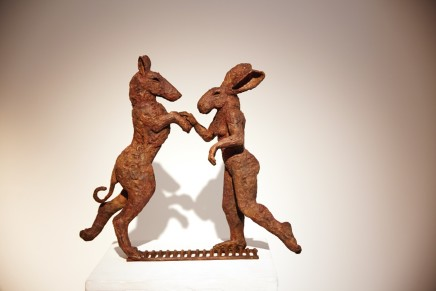 Sophie Ryder, Pink Lady Dancing with Big Brown Dog Maquette