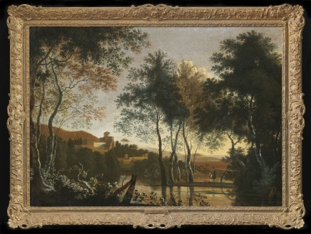 Adriaen Jansz Ocker, An Italianate landscape with a figure and his dog by a lake, a hill-town beyond