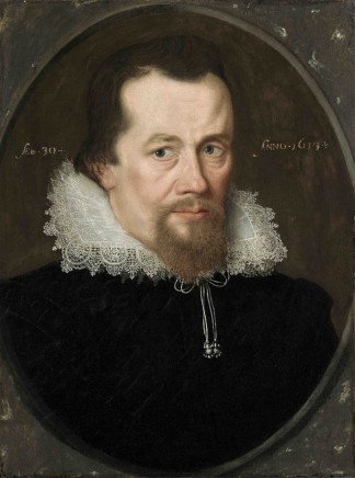 English School, Portrait of a Gentleman wearing a black embroidered doublet and white straight-fronted ruff