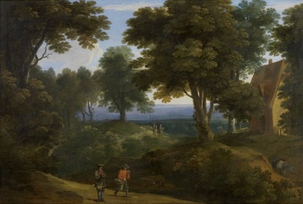 Jacques D'Arthois, A wooded landscape in Flanders with sportsmen on a path, mounted travellers beyond