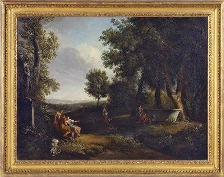 Andrea Locatelli, Classical landscape with figures resting by a pool at the edge of a wood