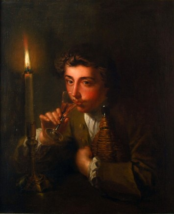 Philip Mercier, Boy drinking wine by candlelight, c.1750
