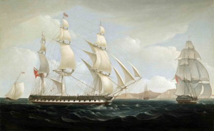 William John Huggins, The East Indiaman 'Ceres' (High Scott, Captain) in two positions off St. Helena