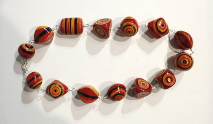 Elinor Lamond, Red and Orange Striped Necklace , 2017