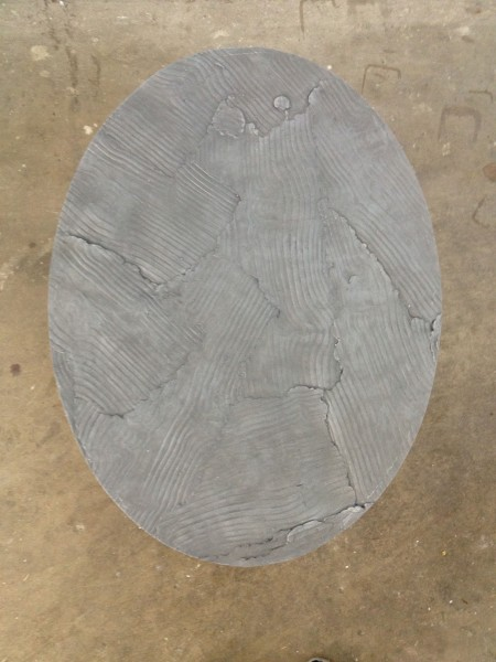 "<span class=""artist""><strong>Peter Marigold</strong></span>, <span class=""title""><em>Wooden Table, Grey Elipse</em>, 2014</span>"