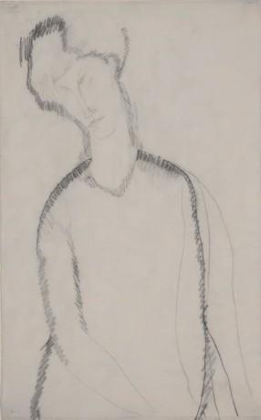 Amedeo Modigliani, Femme Assise, c. 1909, Graphite on paper, 42.6 x 26.7 cm