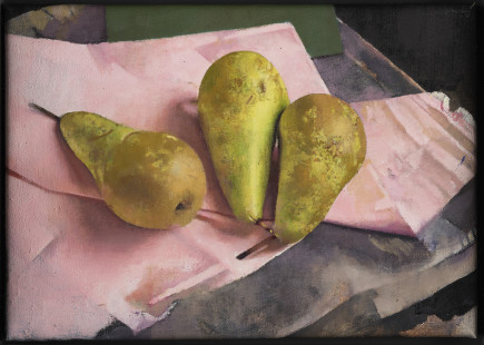 Diarmuid Kelley, Conference Pears Against a Pink Napkin, 2018